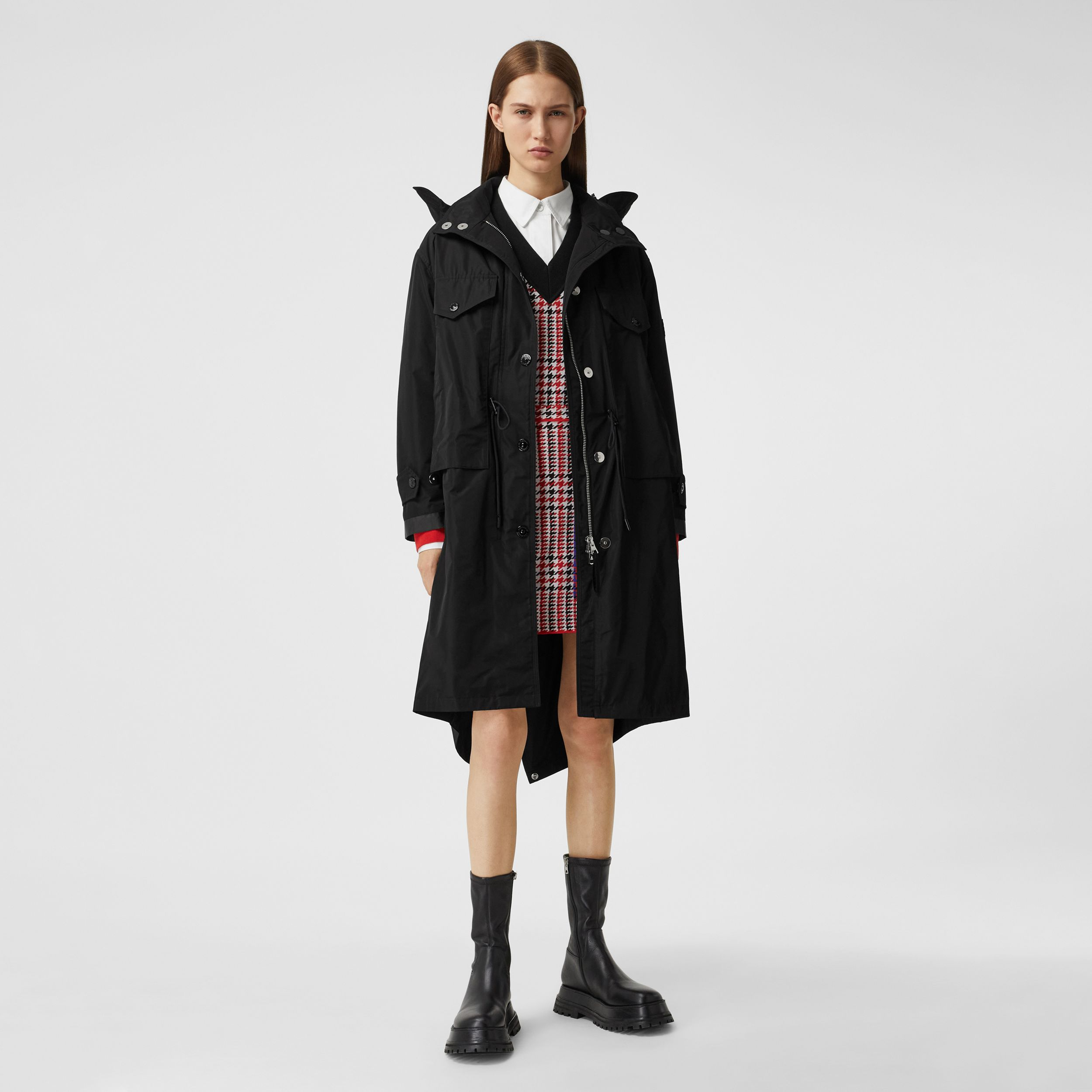 Detachable Hood Shape-memory Taffeta Parka in Black - Women | Burberry Australia - 1