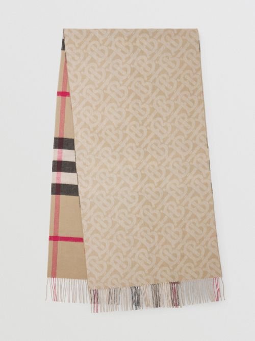 Burberry Reversible Check And Monogram Cashmere Scarf In Multi