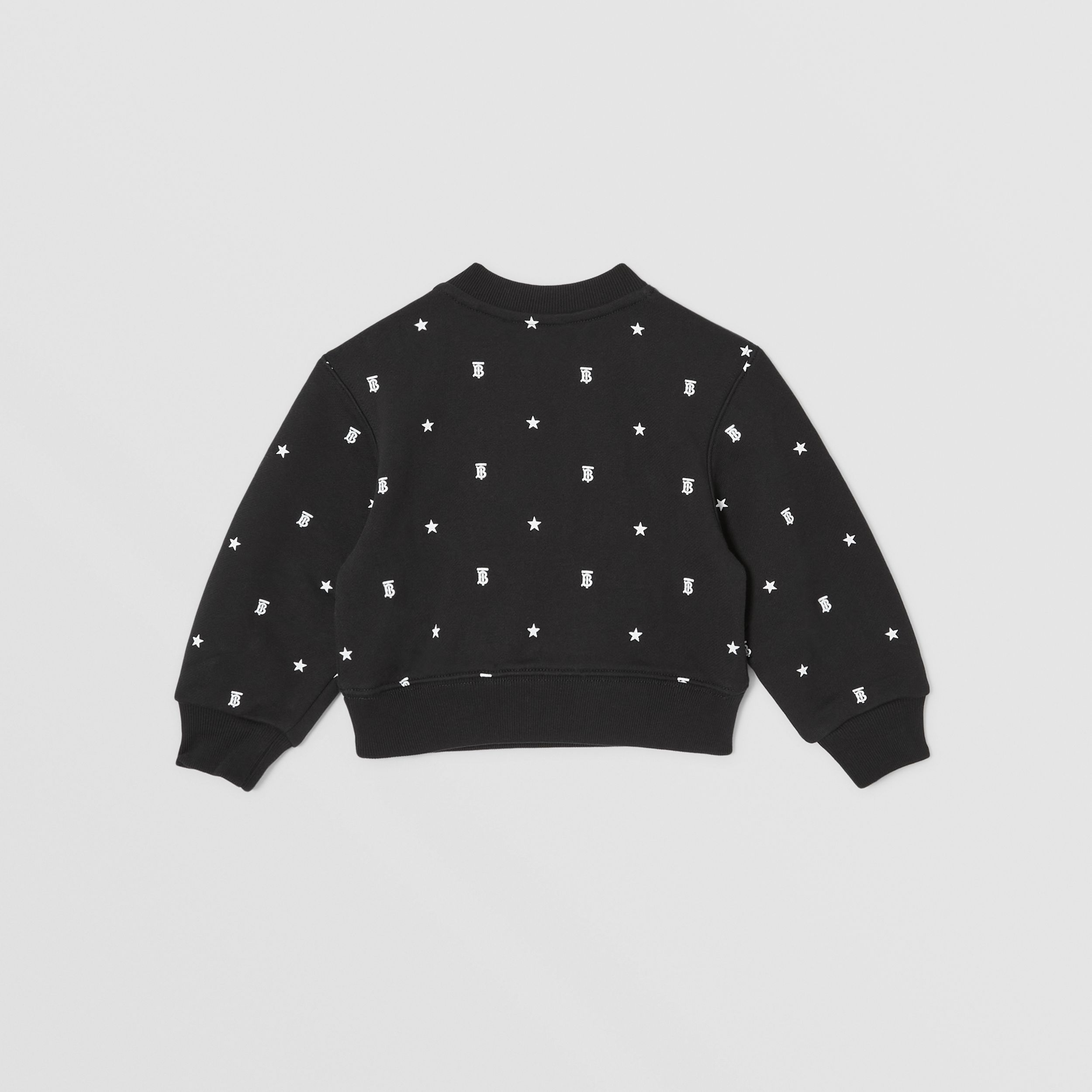 Star and Monogram Motif Cotton Sweatshirt in Black - Children | Burberry - 4