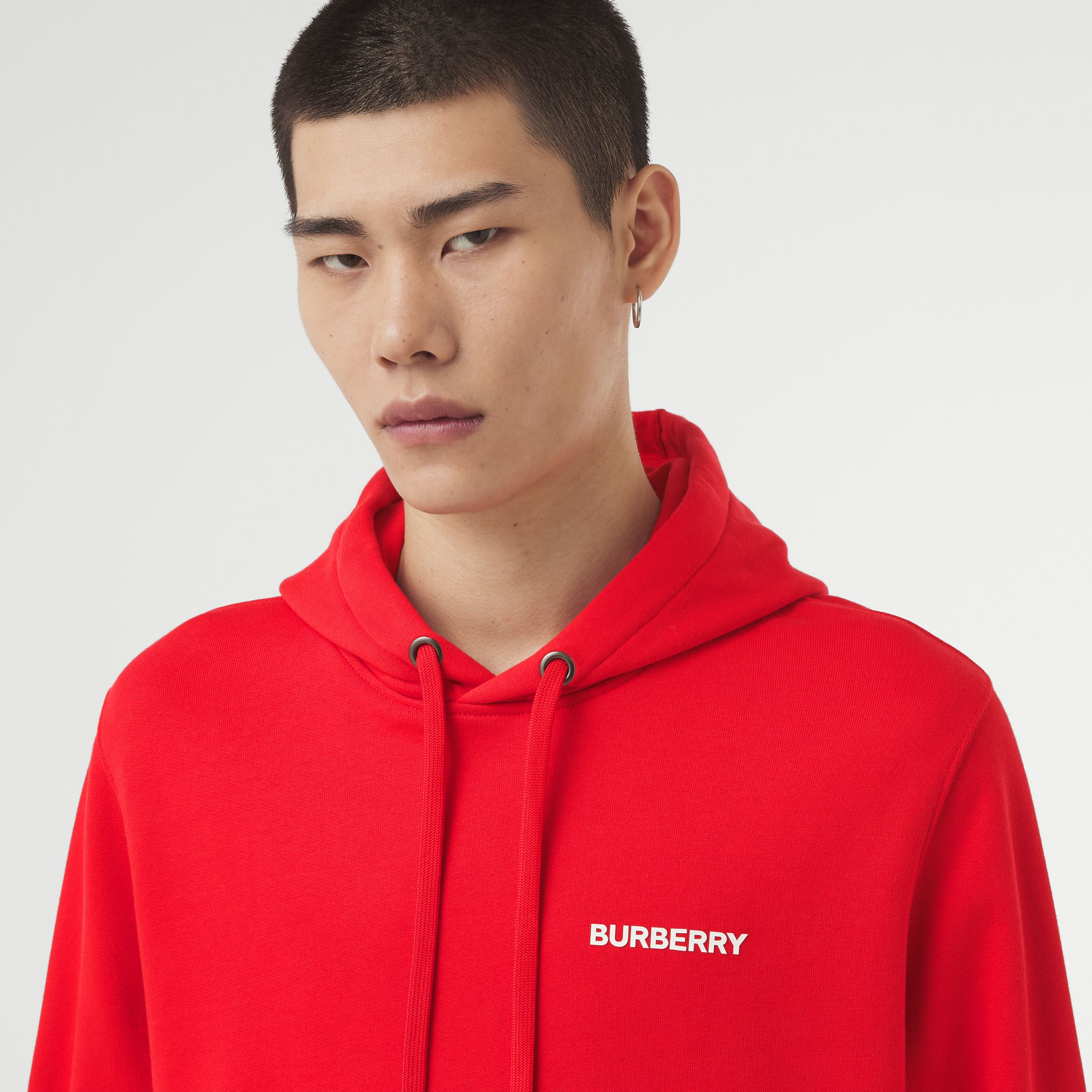 Montage Print Cotton Hoodie – Unisex in Bright Red | Burberry Australia - 2