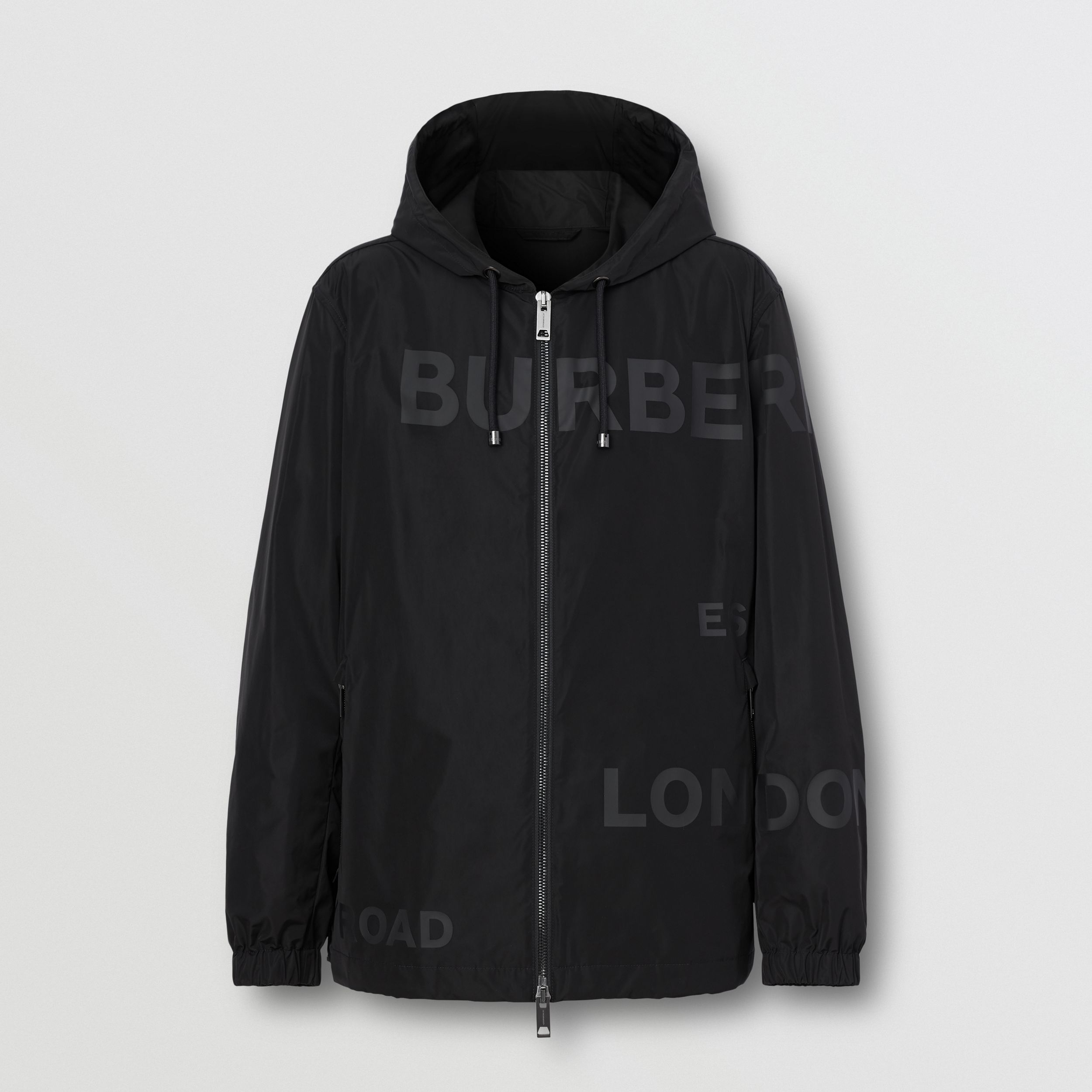 Horseferry Print Shape-memory Taffeta Hooded Jacket in Black - Men | Burberry - 1