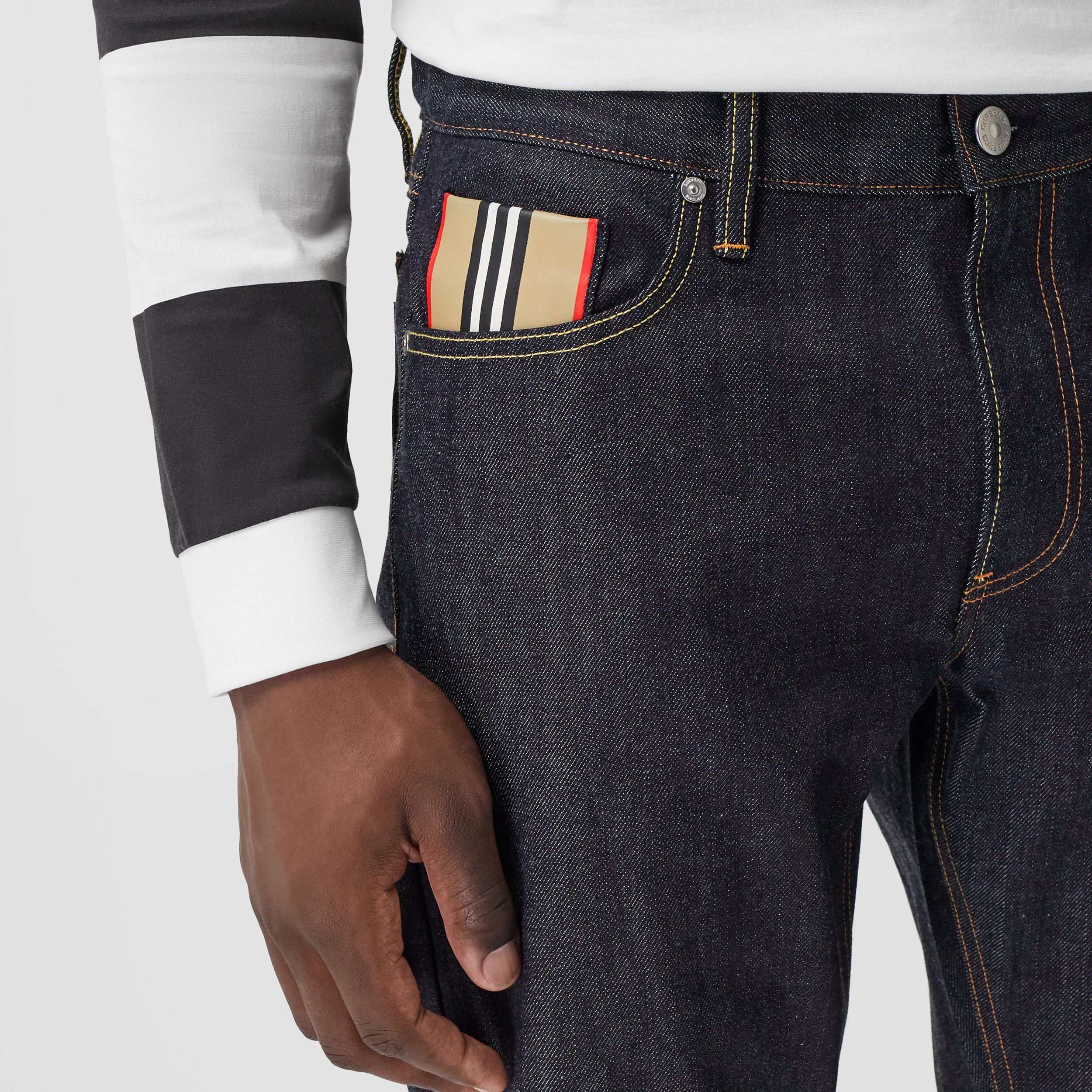 Straight Fit Raw Japanese Selvedge Denim Jeans - Men | Burberry - 2