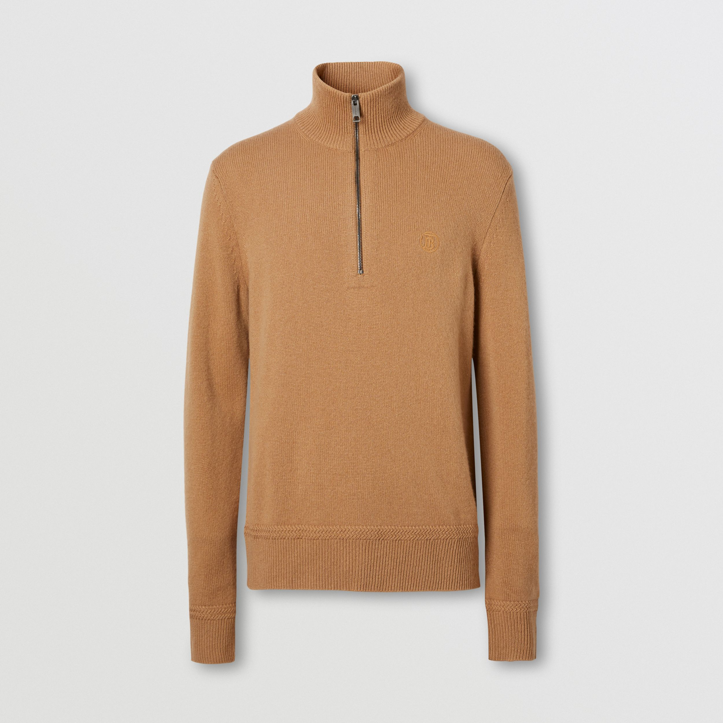 Monogram Motif Cashmere Funnel Neck Sweater in Camel - Men | Burberry - 4