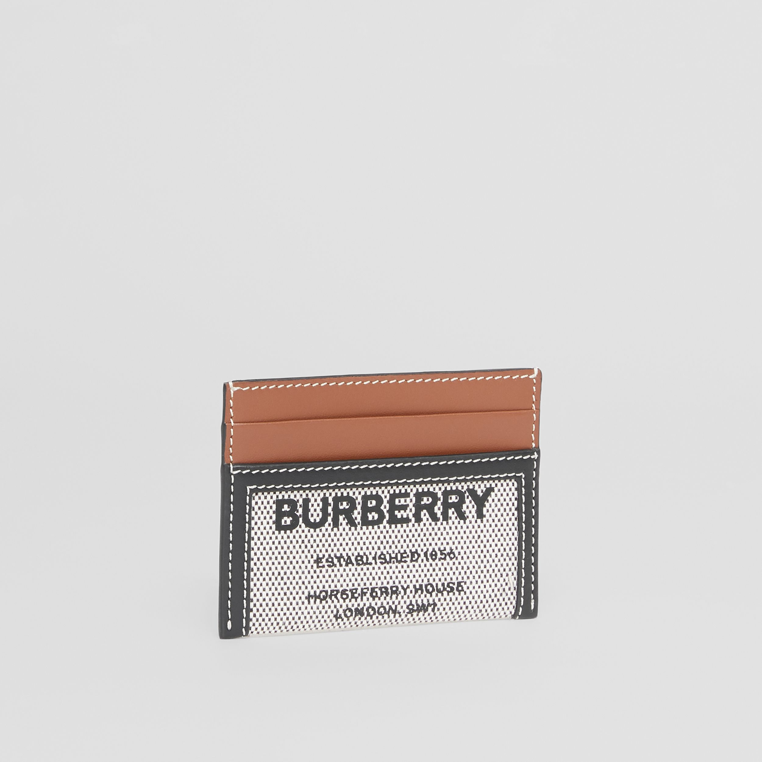 Horseferry Print Cotton Canvas and Leather Card Case in Black/tan - Women | Burberry - 4