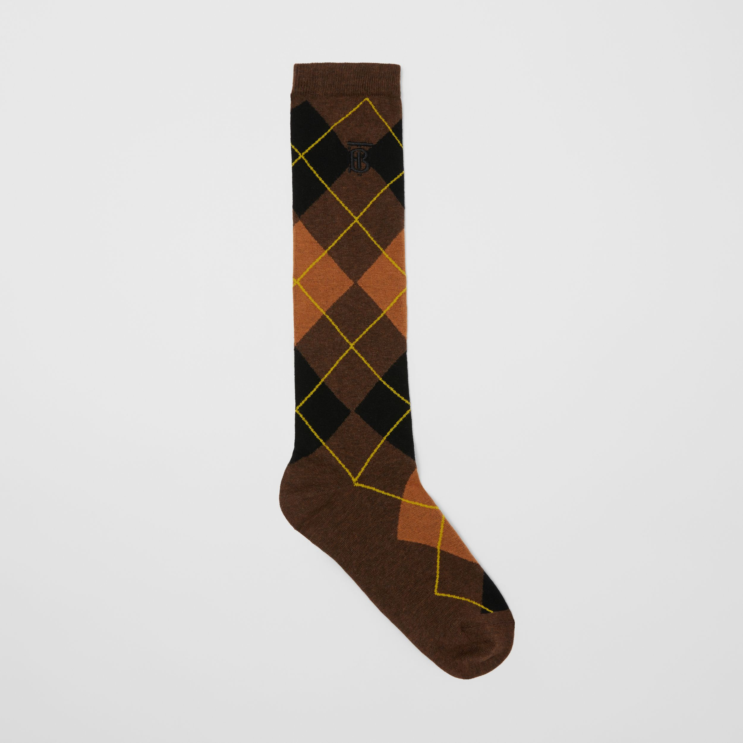 Argyle Intarsia Cotton Blend Calf-length Socks in Brown | Burberry - 1