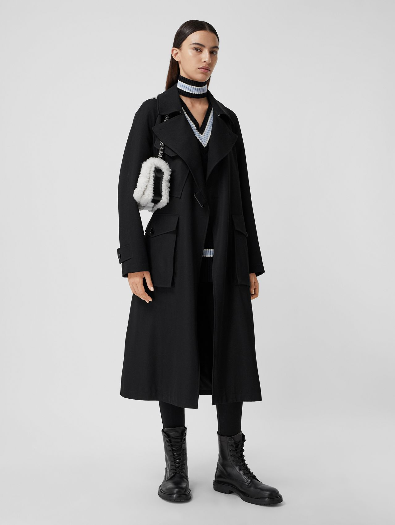 Technical Wool Tielocken Coat in Black