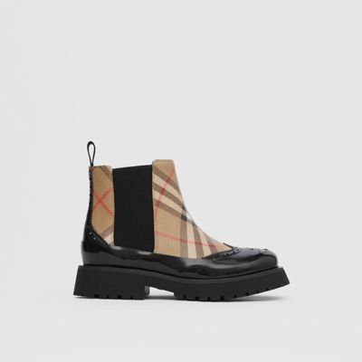 Vintage Check Leather Chelsea Boots in