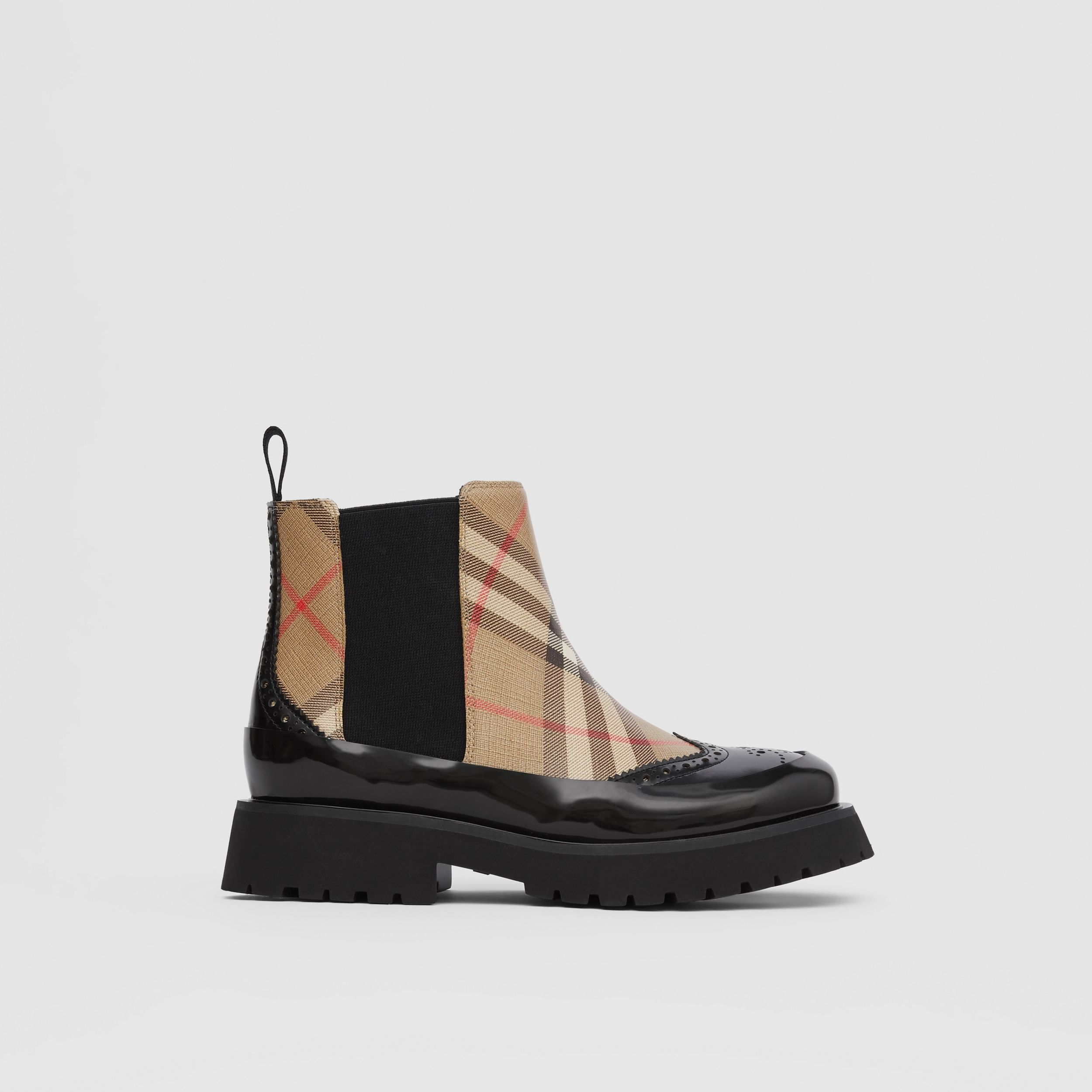 Vintage Check Leather Chelsea Boots in Archive Beige - Children | Burberry - 4