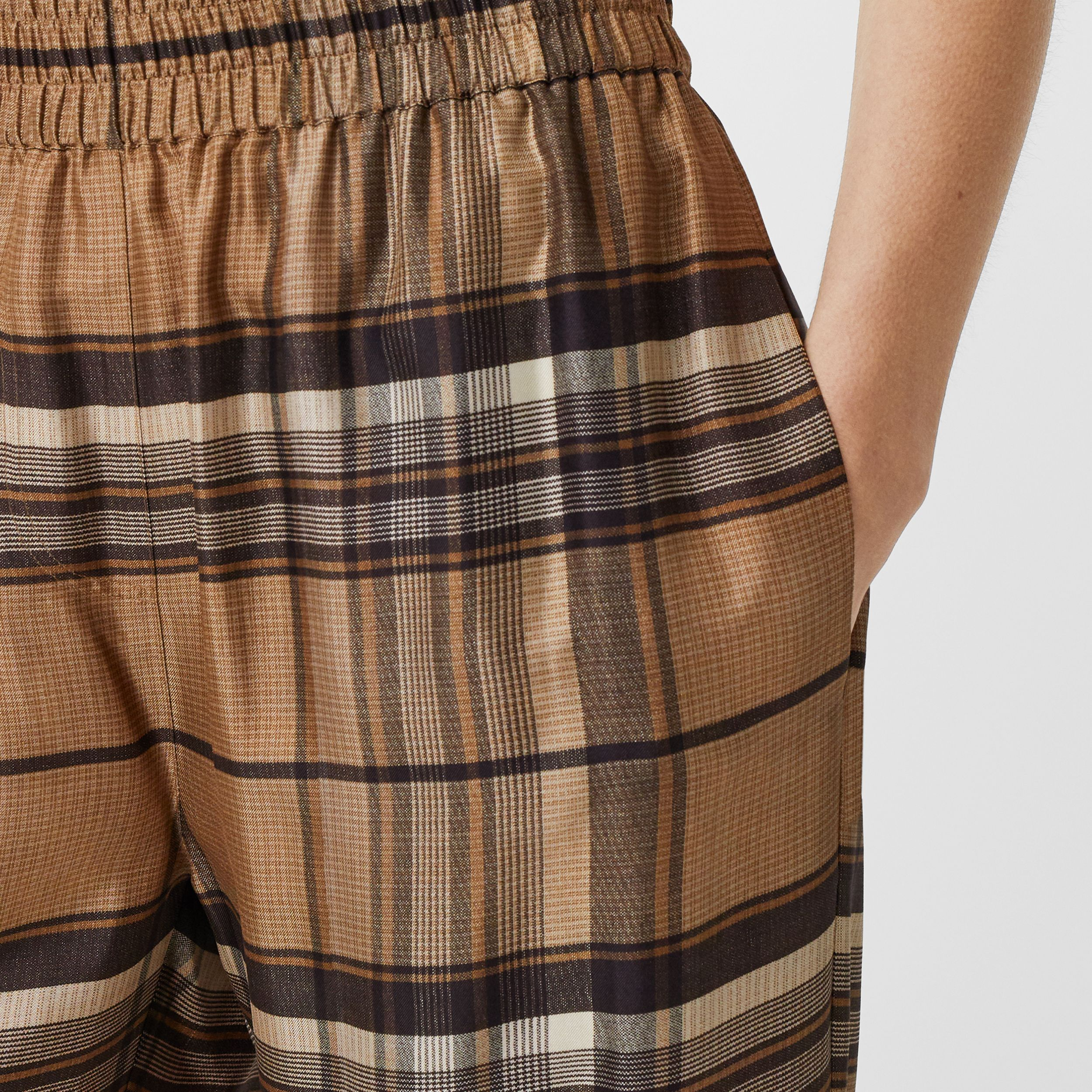 Check Print Silk Twill Wide-leg Trousers in Dark Tan - Women | Burberry Australia - 2
