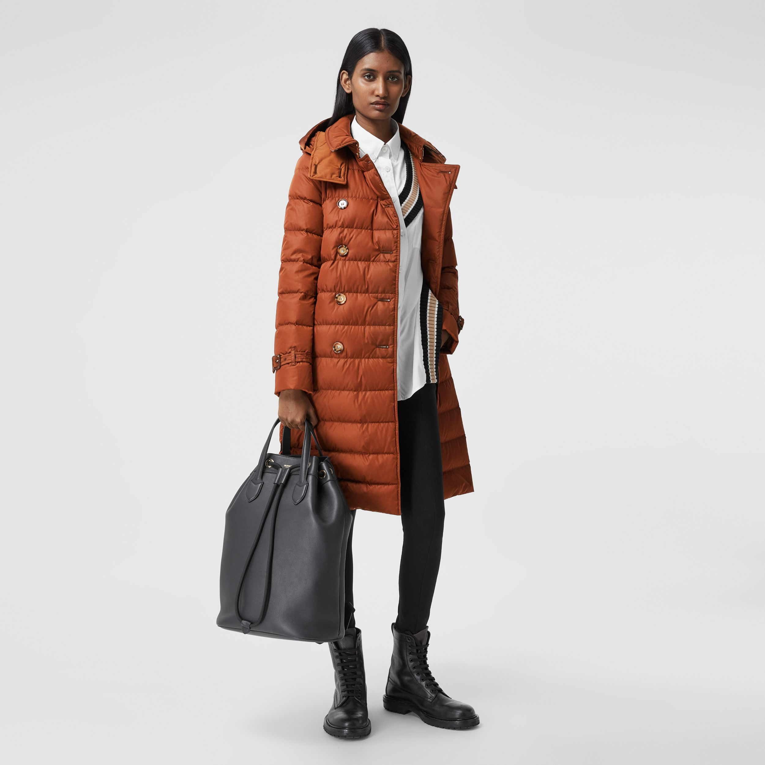 Logo Appliqué Detachable Hood Puffer Coat in Warm Brown - Women | Burberry - 1