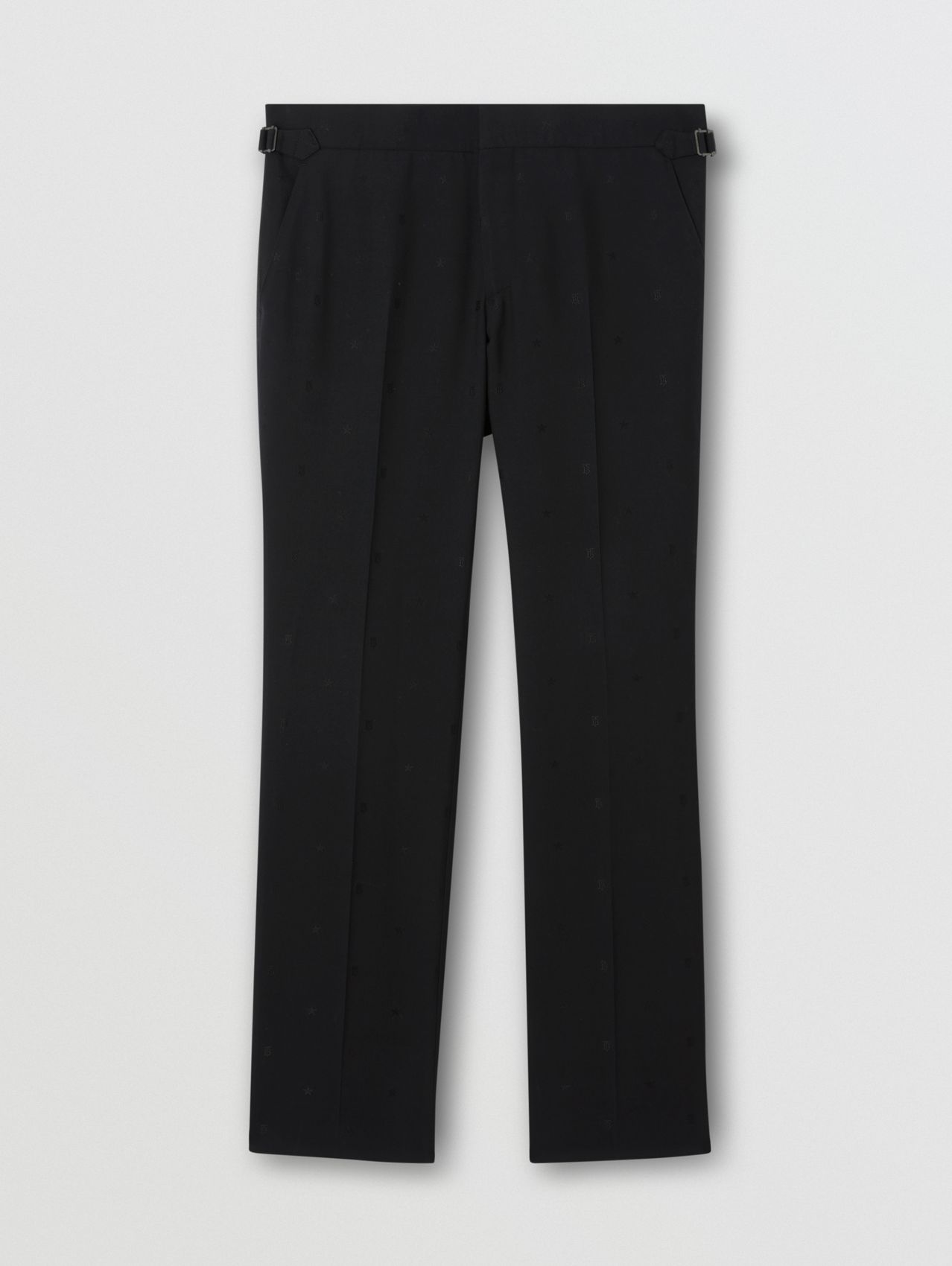 Monogram and Star Wool Silk Jacquard Trousers in Black