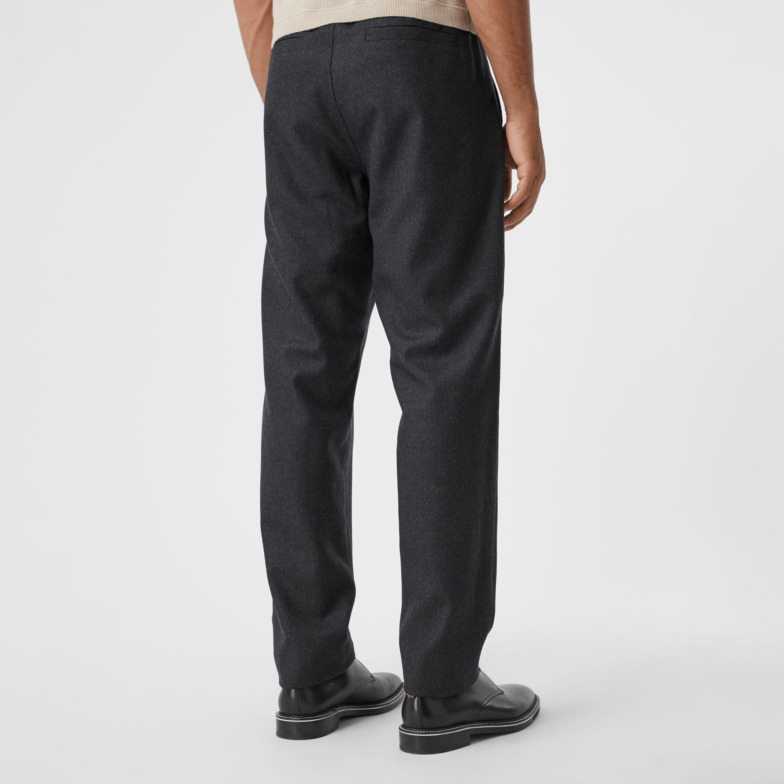 Monogram Motif Wool Jogging Pants in Charcoal Melange - Men | Burberry - 3