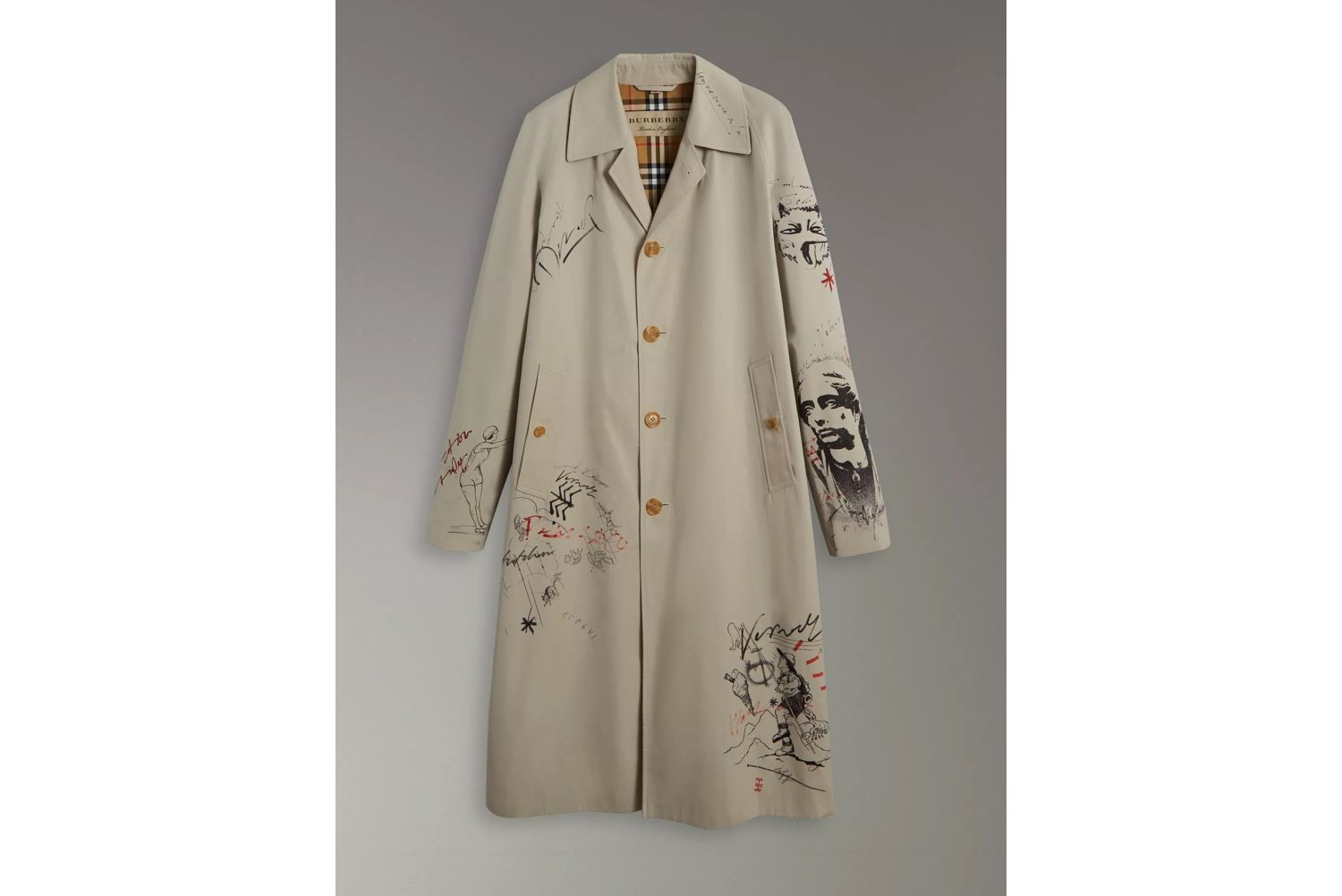 Sketch Print Car Coat in Stone