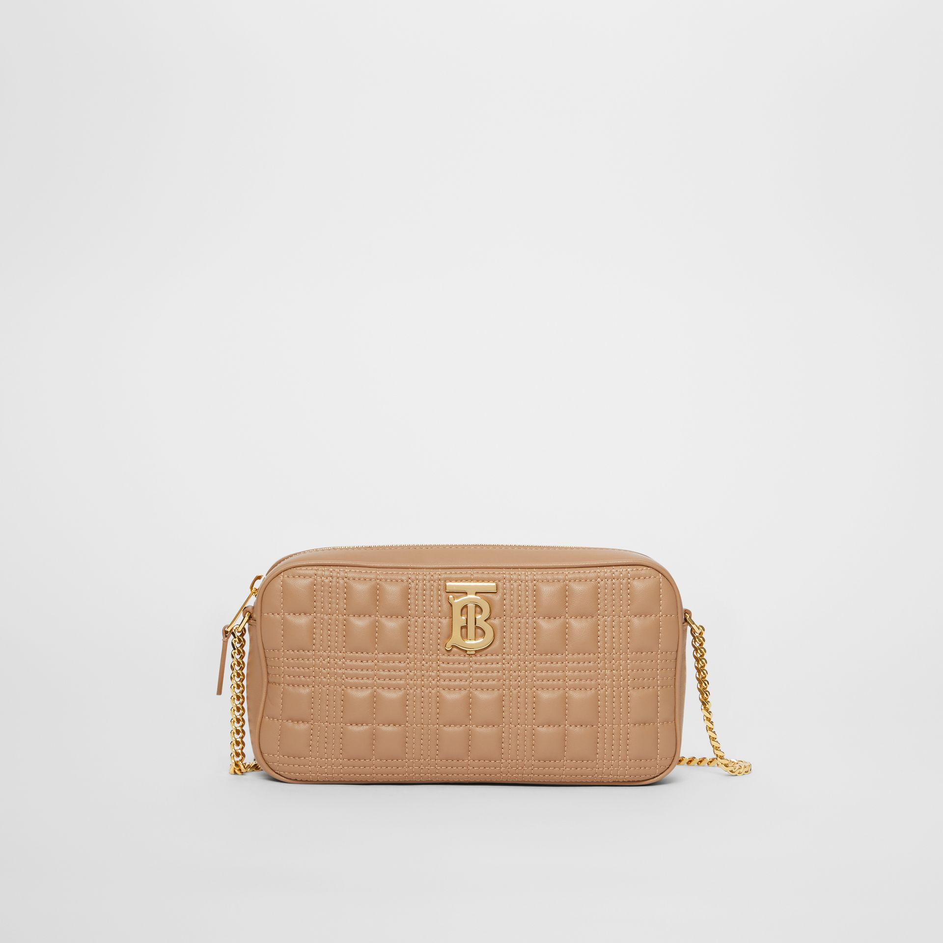 Quilted Check Lambskin Camera Bag in Camel - Women | Burberry - gallery image 0
