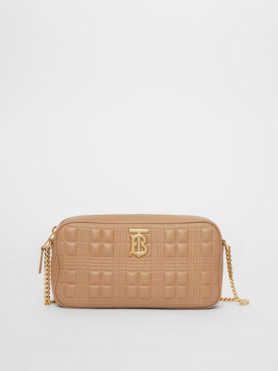 Quilted Check Lambskin Camera Bag in Camel