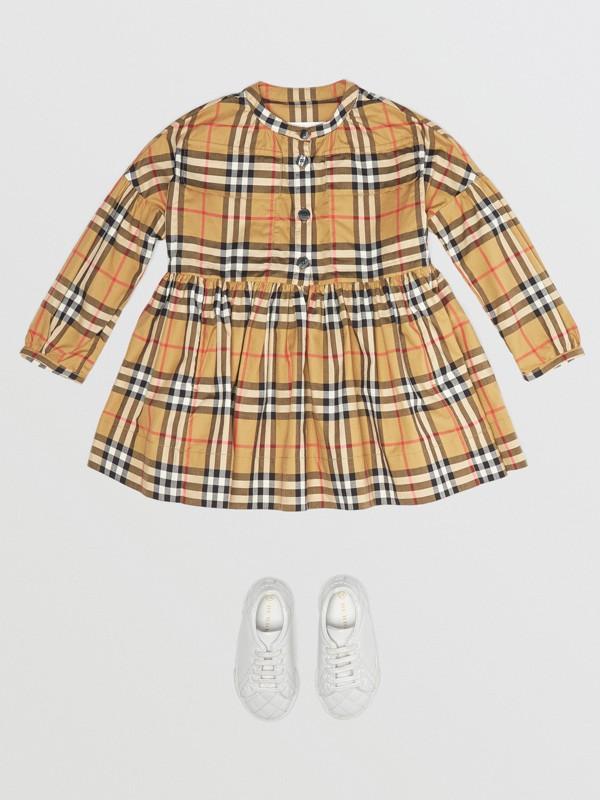 Vestido de algodão em Vintage Check com mangas franzidas (Amarelo Antigo) | Burberry - cell image 2