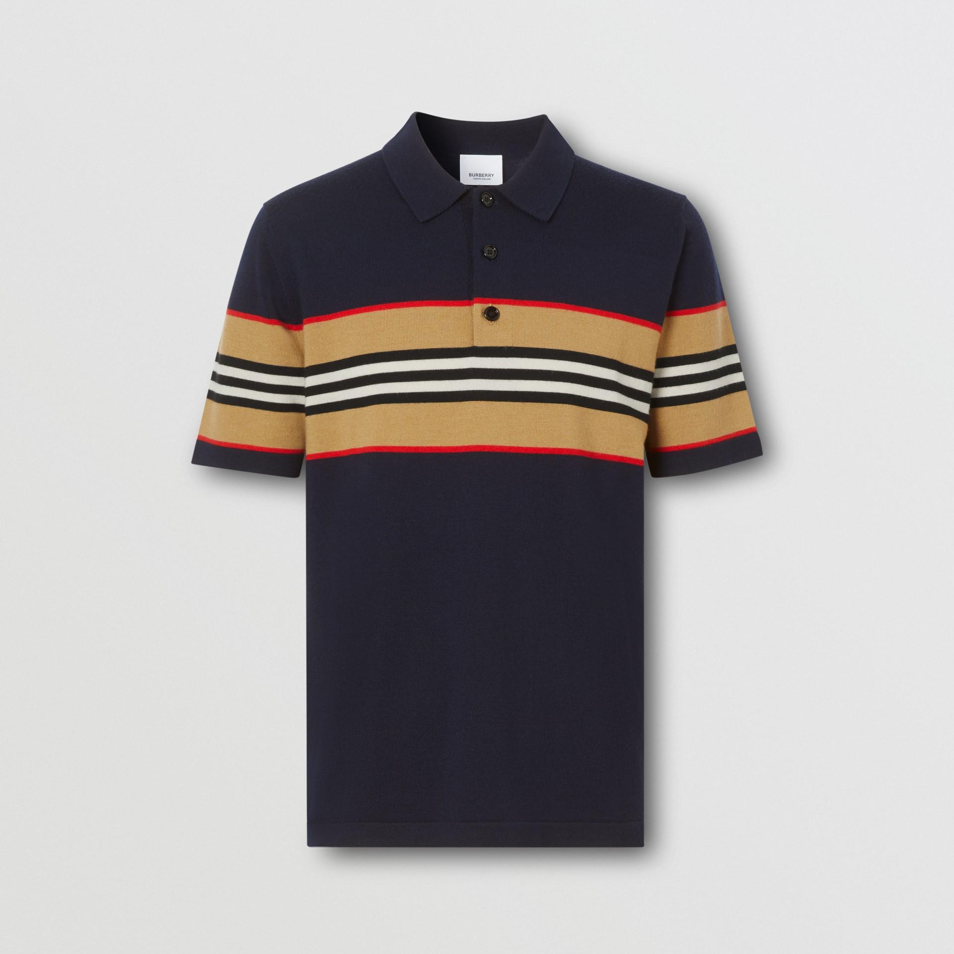Icon Stripe Detail Merino Wool Polo Shirt in Navy - Men | Burberry - gallery image 3