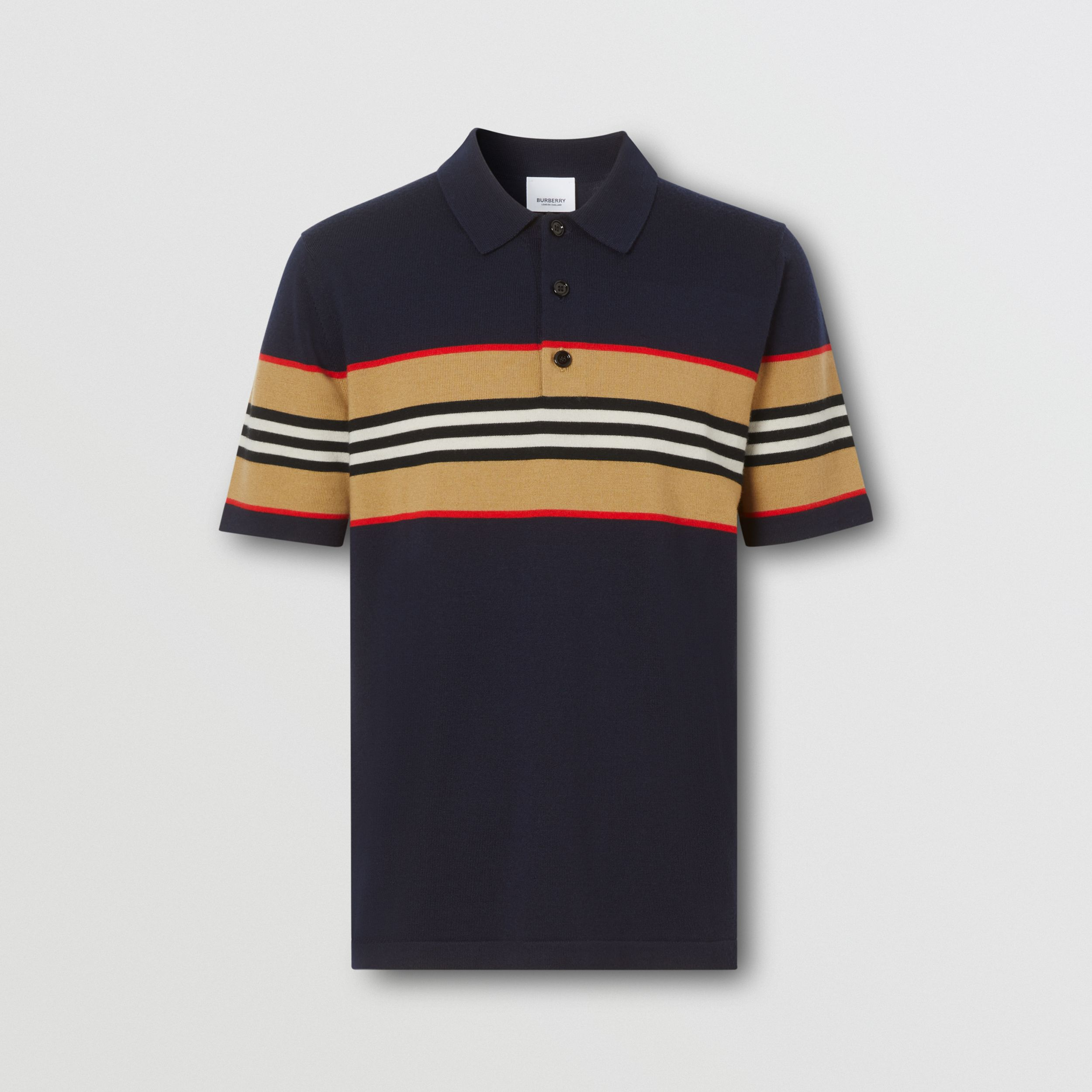 Icon Stripe Detail Merino Wool Polo Shirt in Navy - Men | Burberry - 4