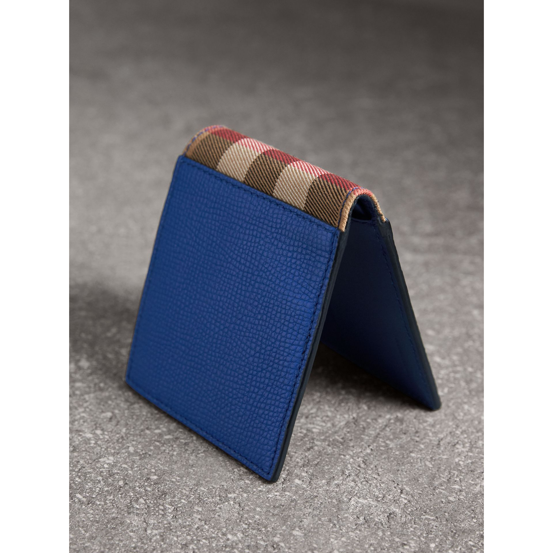 Leather and House Check International Bifold Wallet in Deep Blue - Men | Burberry Singapore - gallery image 3