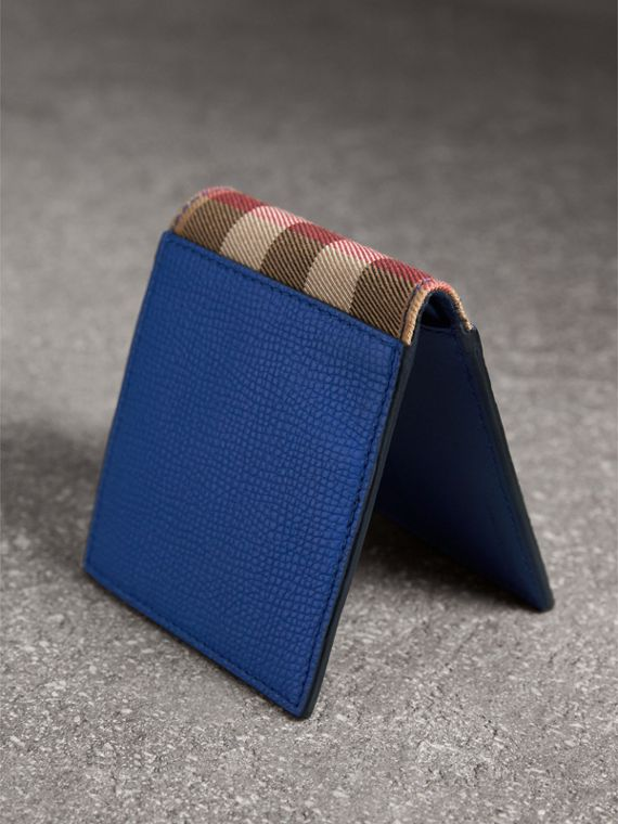 Leather and House Check International Bifold Wallet in Deep Blue | Burberry - cell image 2