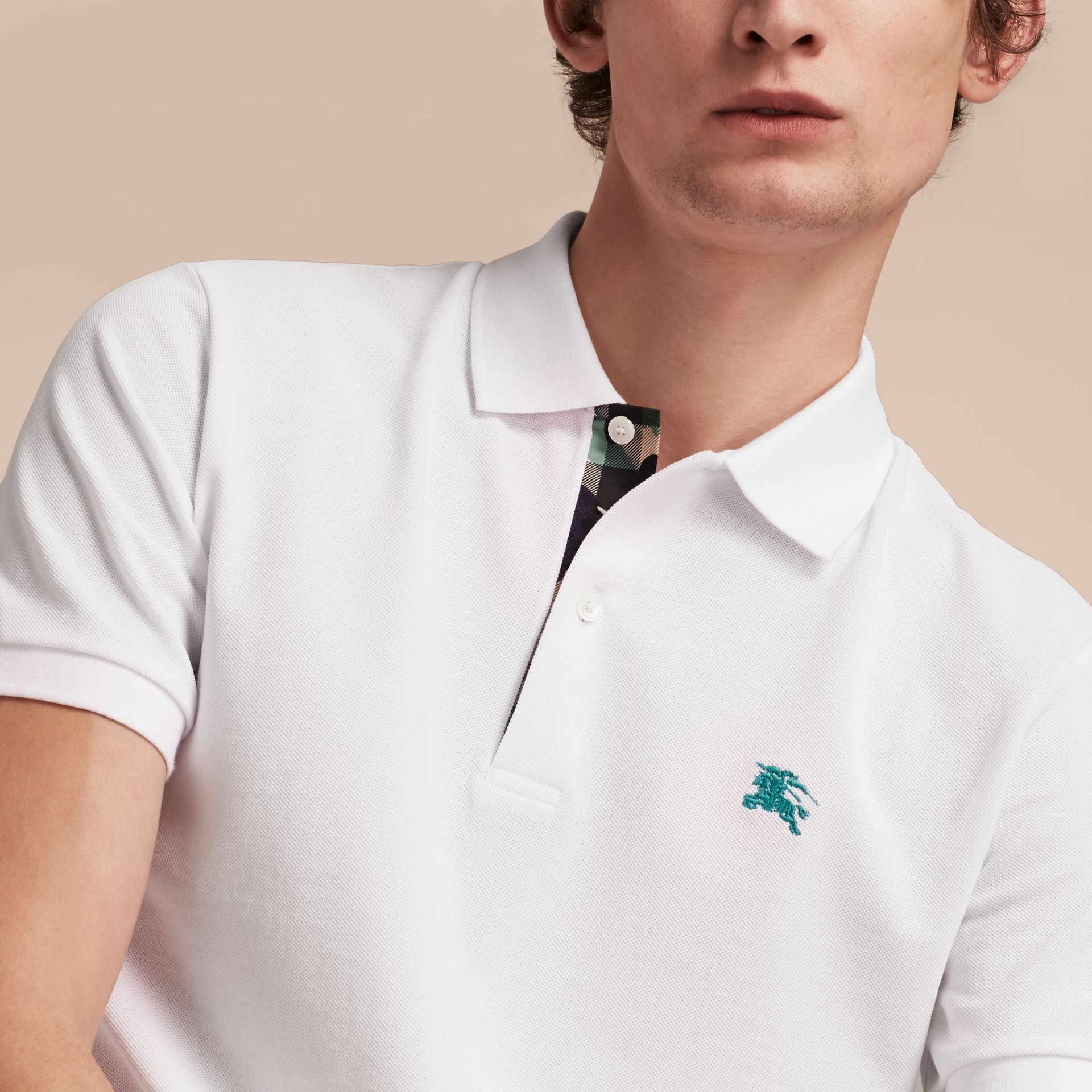 Printed Check Placket Cotton Piqué Polo Shirt in White - gallery image 5