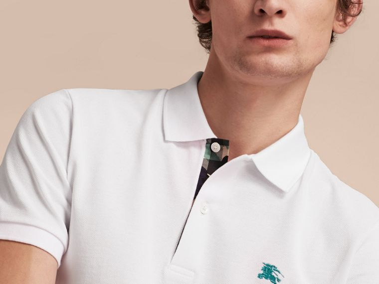 Printed Check Placket Cotton Piqué Polo Shirt in White - cell image 4