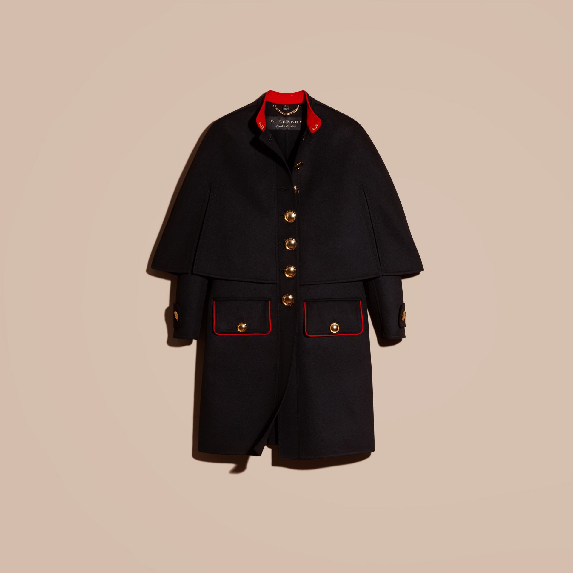 Black Military Detail Wool Cashmere Cape Coat - gallery image 4