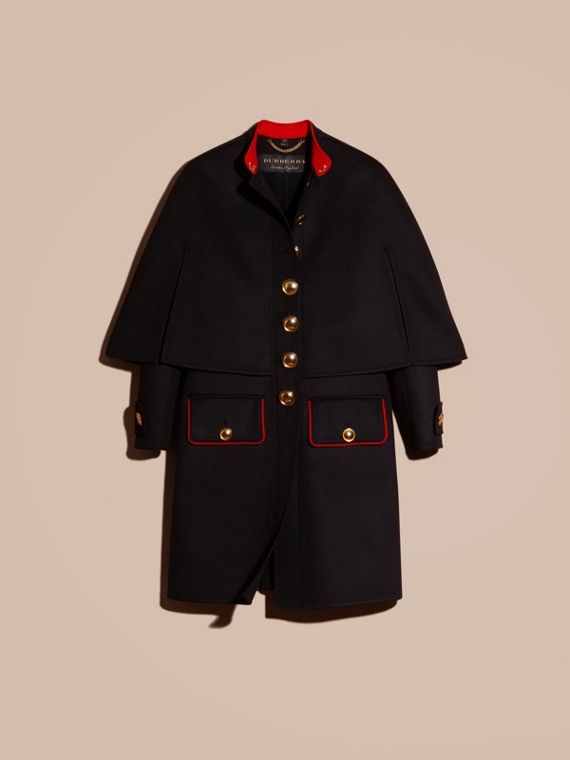 Black Military Detail Wool Cashmere Cape Coat - cell image 3