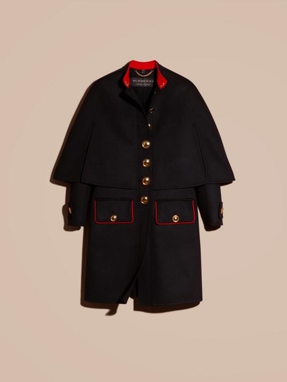 Nero Cappotto a mantella in lana e cashmere con dettagli militari - cell image 3