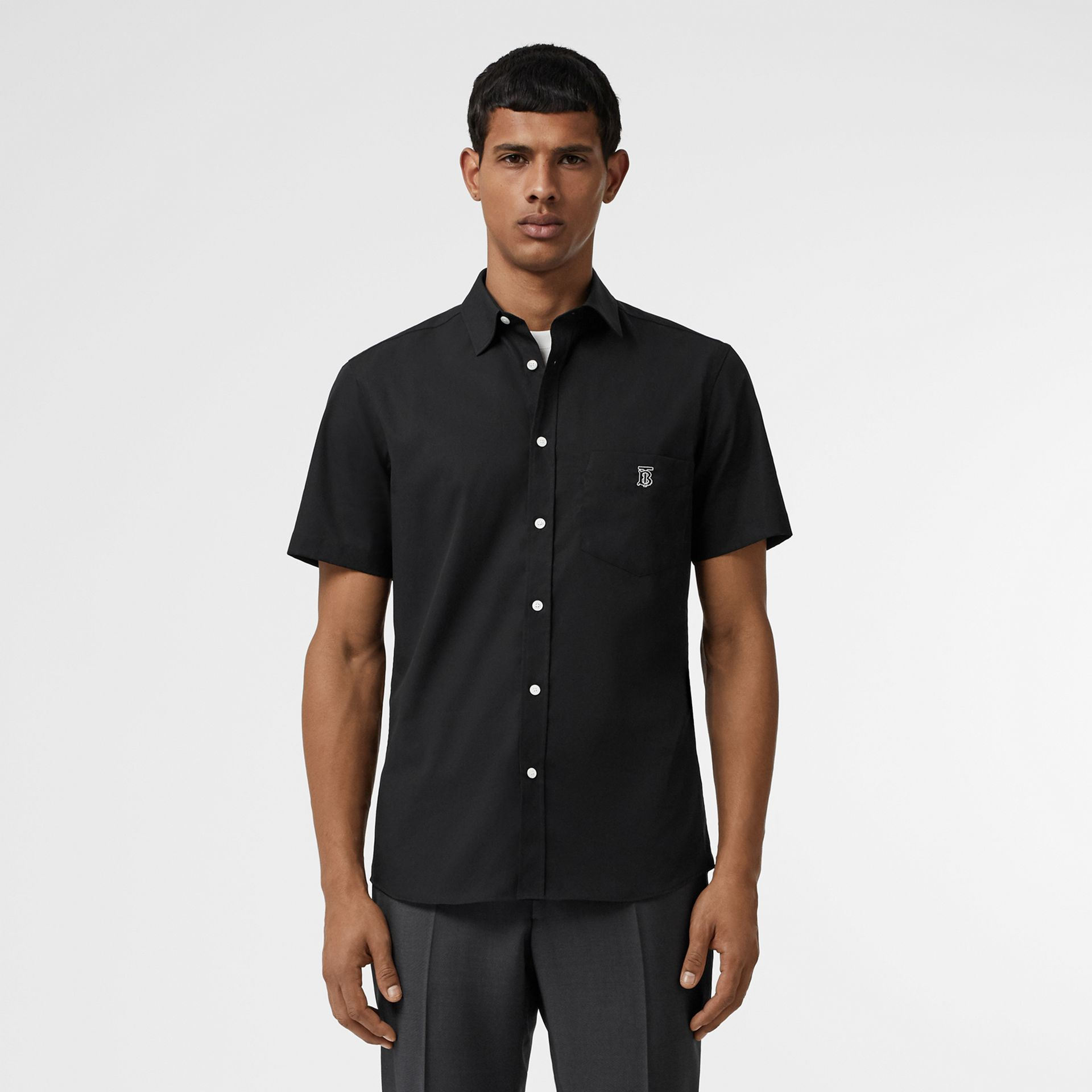 Short-sleeve Monogram Motif Stretch Cotton Shirt in Black - Men | Burberry Singapore - gallery image 0