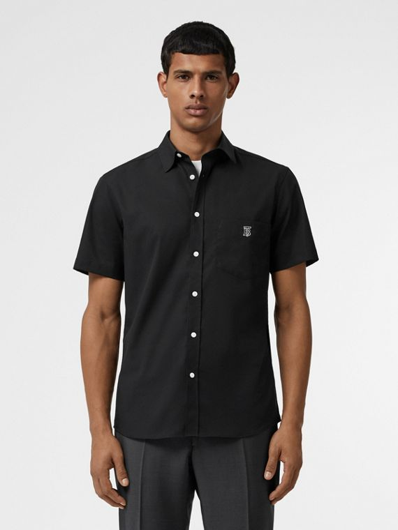 Short-sleeve Monogram Motif Stretch Cotton Shirt in Black