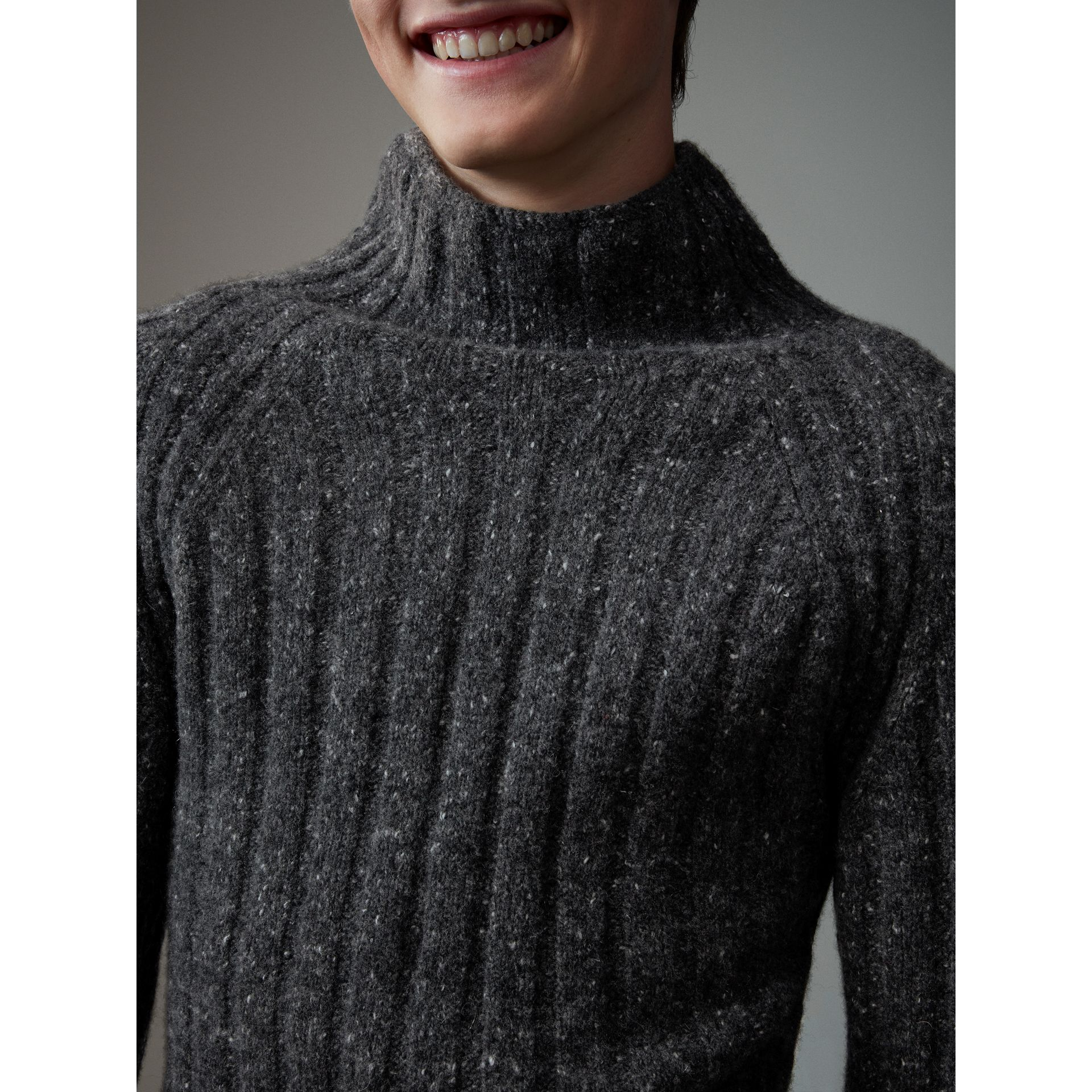 Rib Knit Wool Cashmere Turtleneck Sweater in Charcoal - Men | Burberry - gallery image 5