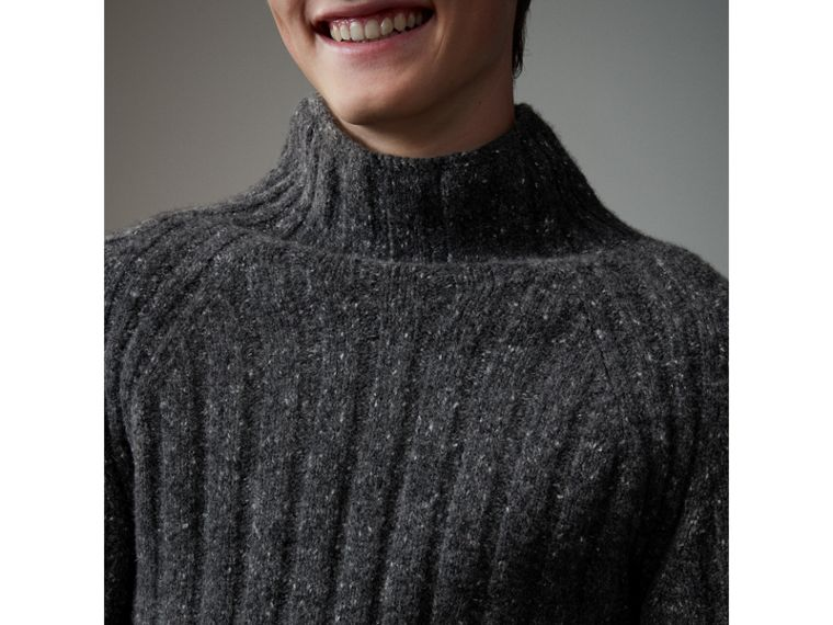 Rib Knit Wool Cashmere Turtleneck Sweater in Charcoal - Men | Burberry - cell image 4