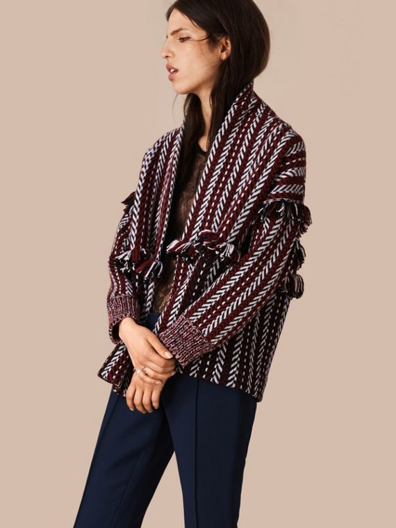 Fringed Wool Cashmere Jacket Deep Red
