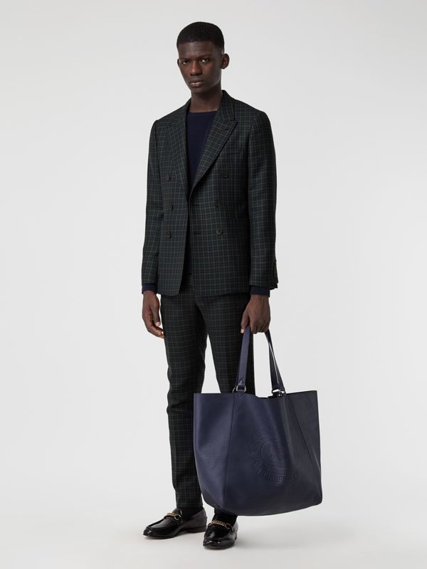 Large Embossed Crest Bonded Leather Tote in Regency Blue - Men | Burberry United Kingdom - cell image 2