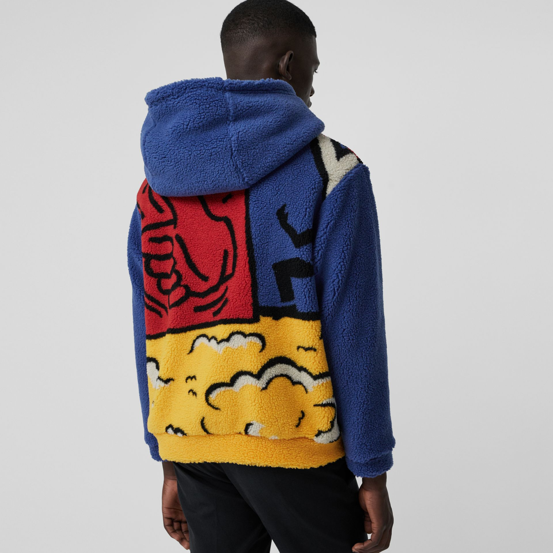 Poster Graphic Fleece Jacquard Hoodie in Amber Yellow - Men | Burberry United States - gallery image 2