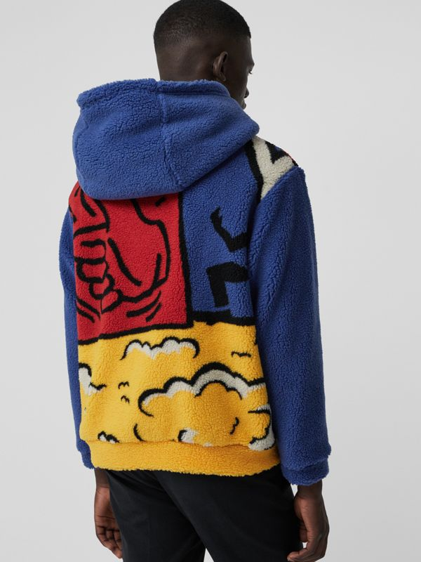 Poster Graphic Fleece Jacquard Hoodie in Amber Yellow - Men | Burberry United States - cell image 2