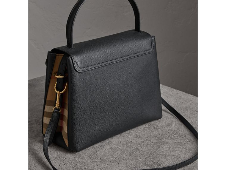 Medium Grainy Leather and House Check Tote Bag in Black - Women | Burberry - cell image 4