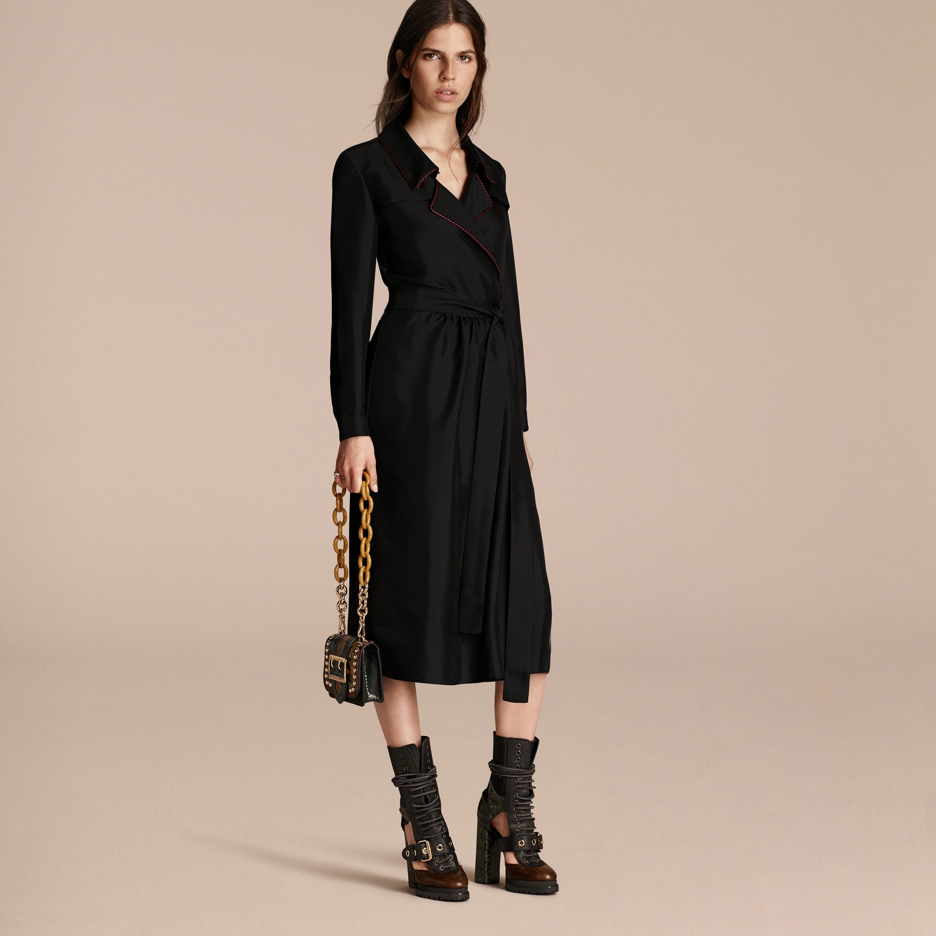 Black Silk Wrap Trench Dress with Military Piping - gallery image 7