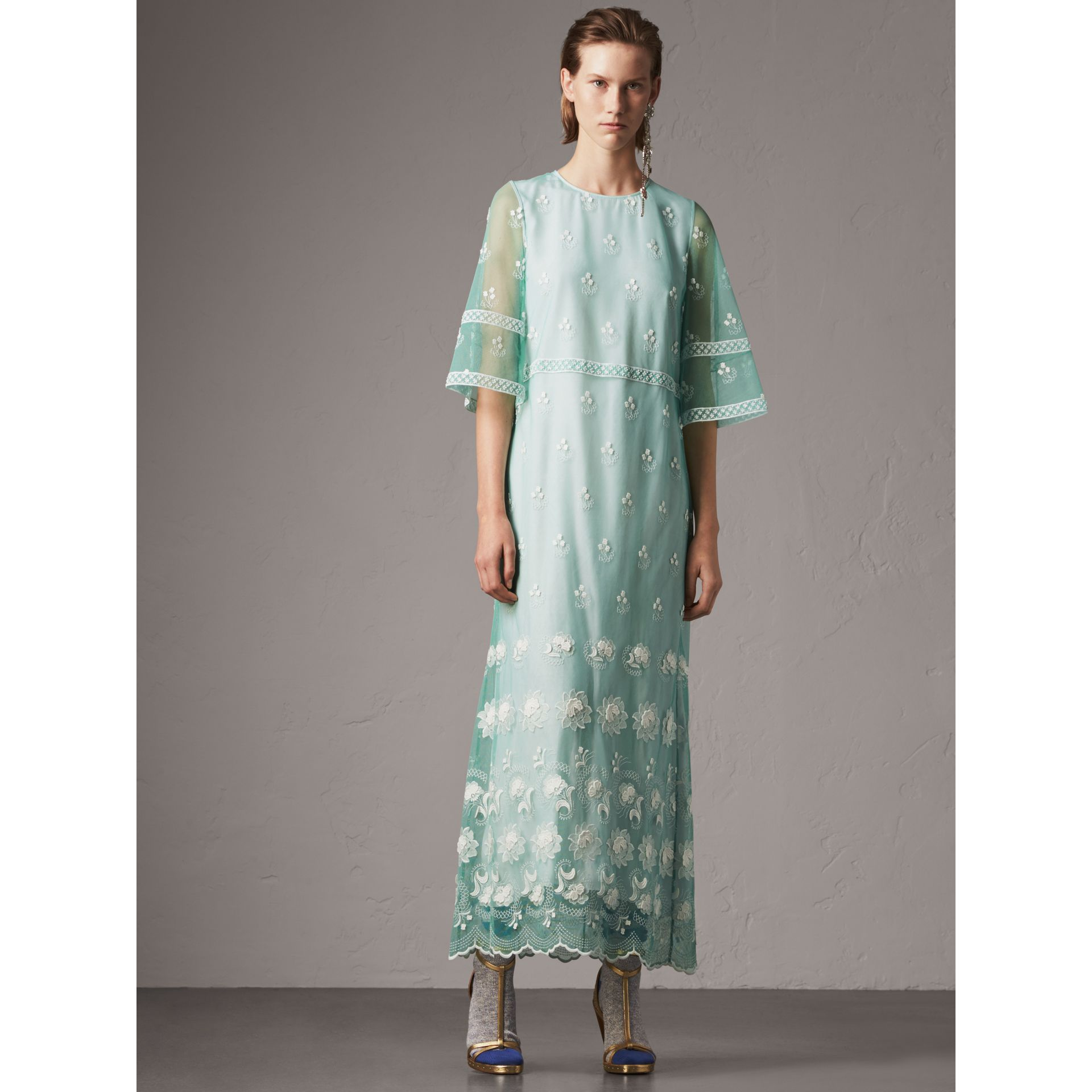 Flare-sleeve Embroidered Tulle Dress in Aqua Green/white - Women | Burberry - gallery image 1