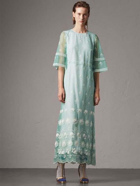 Flare-sleeve Embroidered Tulle Dress in Aqua Green/white