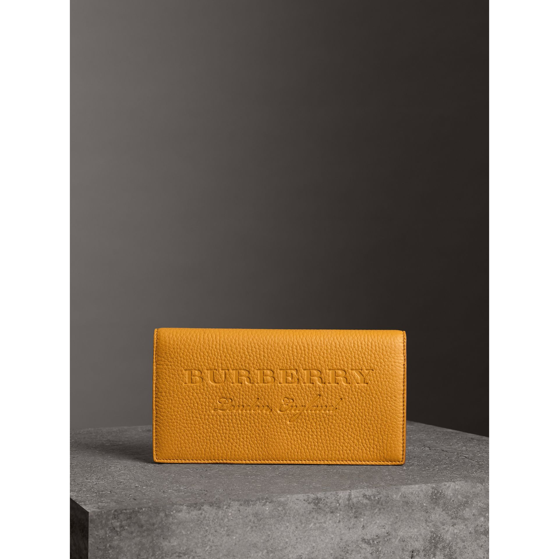 Embossed Leather Continental Wallet in Ochre Yellow | Burberry United Kingdom - gallery image 4
