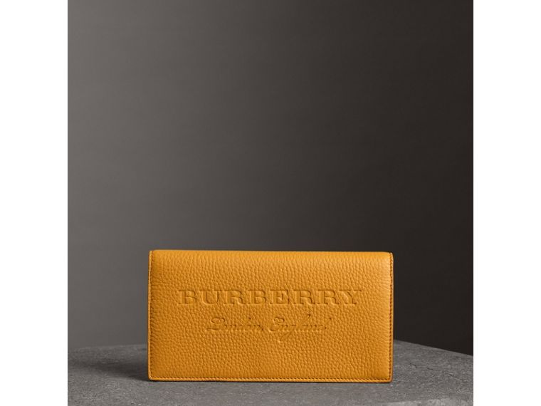 Embossed Leather Continental Wallet in Ochre Yellow | Burberry - cell image 4