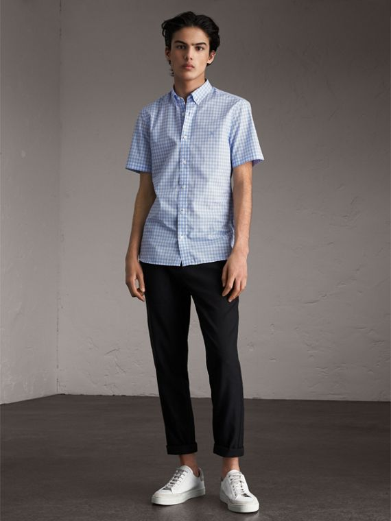 Short-sleeve Button-down Collar Cotton Gingham Shirt in Pale Blue - Men | Burberry - cell image 3