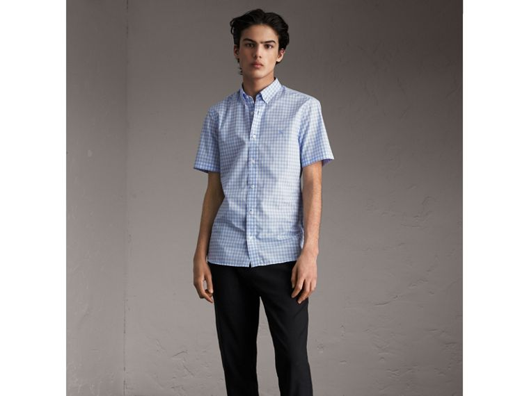 Short-sleeve Button-down Collar Cotton Gingham Shirt in Pale Blue - Men | Burberry Canada - cell image 4