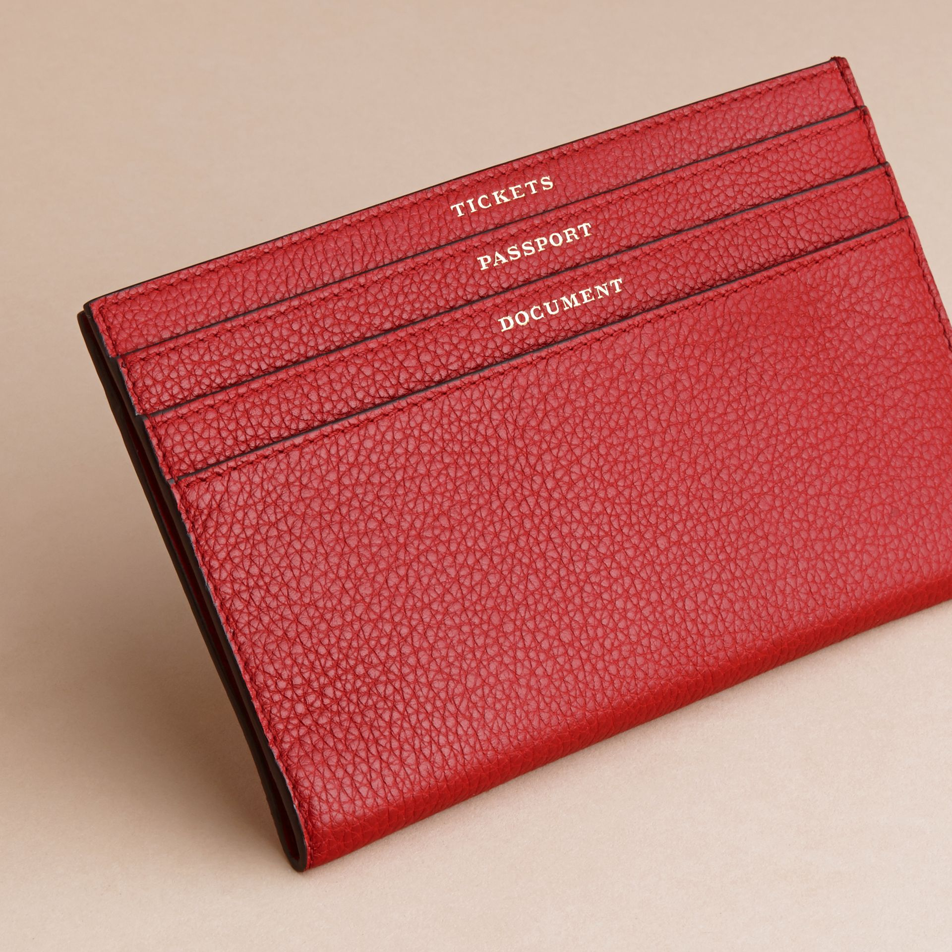 Grainy Leather Travel Case in Parade Red - Women | Burberry - gallery image 3