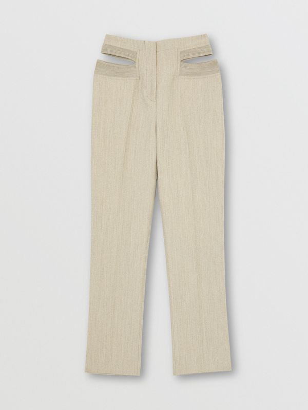 Technical Wool Reconstructed Trousers in Grey - Women | Burberry - cell image 3