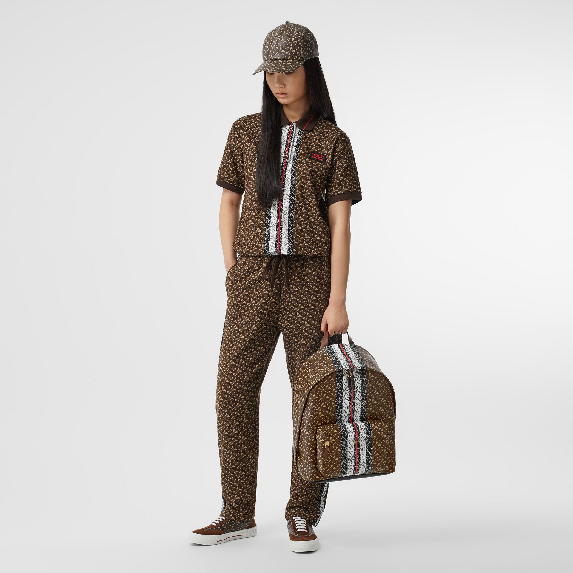 Monogram Stripe Print E-canvas Backpack in Bridle Brown | Burberry Australia - gallery image 6