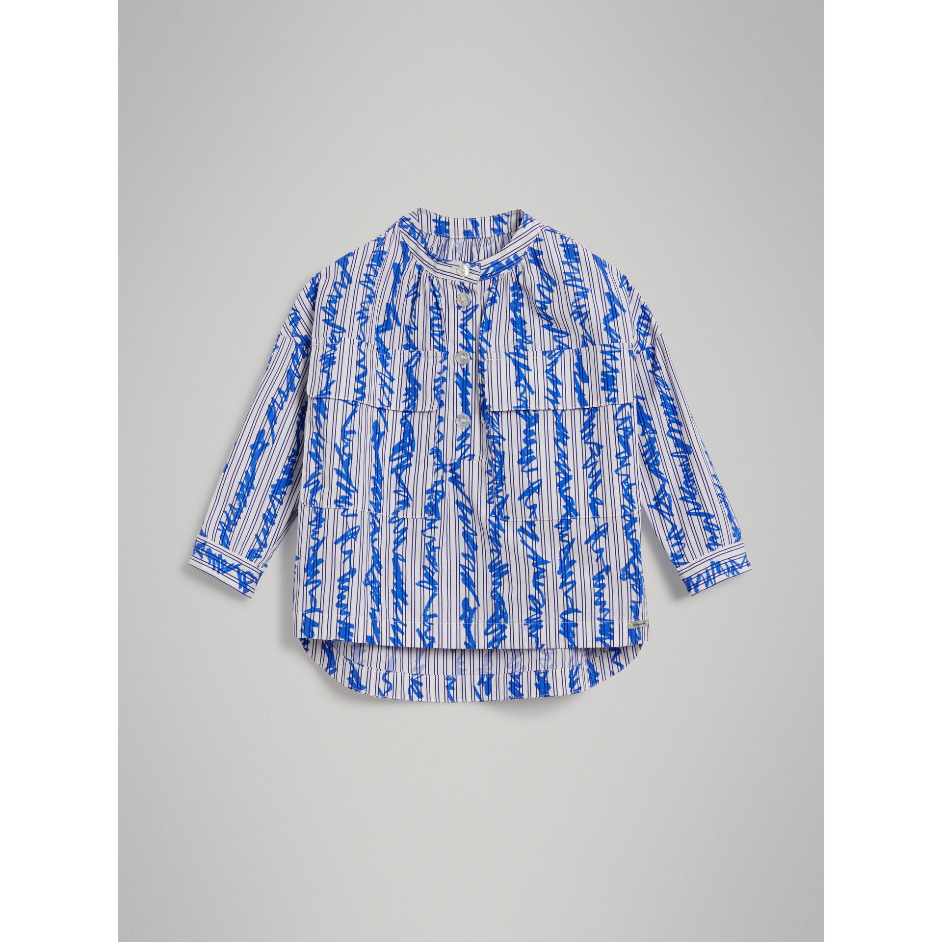 Scribble Stripe Cotton Shirt in Bright Blue - Girl | Burberry - gallery image 0