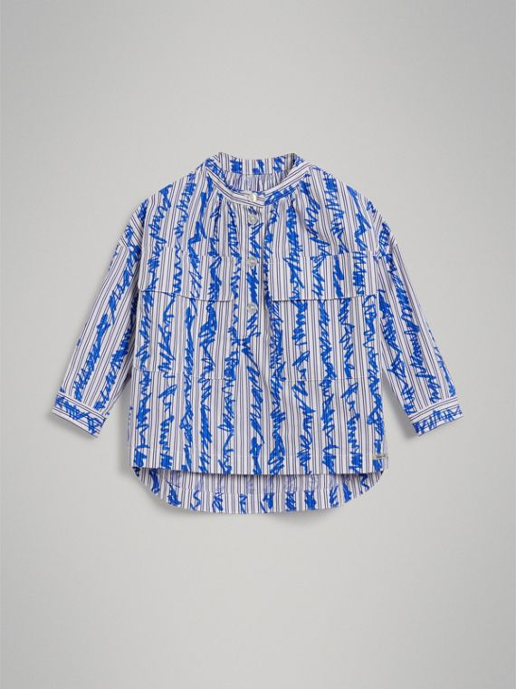 Scribble Stripe Cotton Shirt in Bright Blue